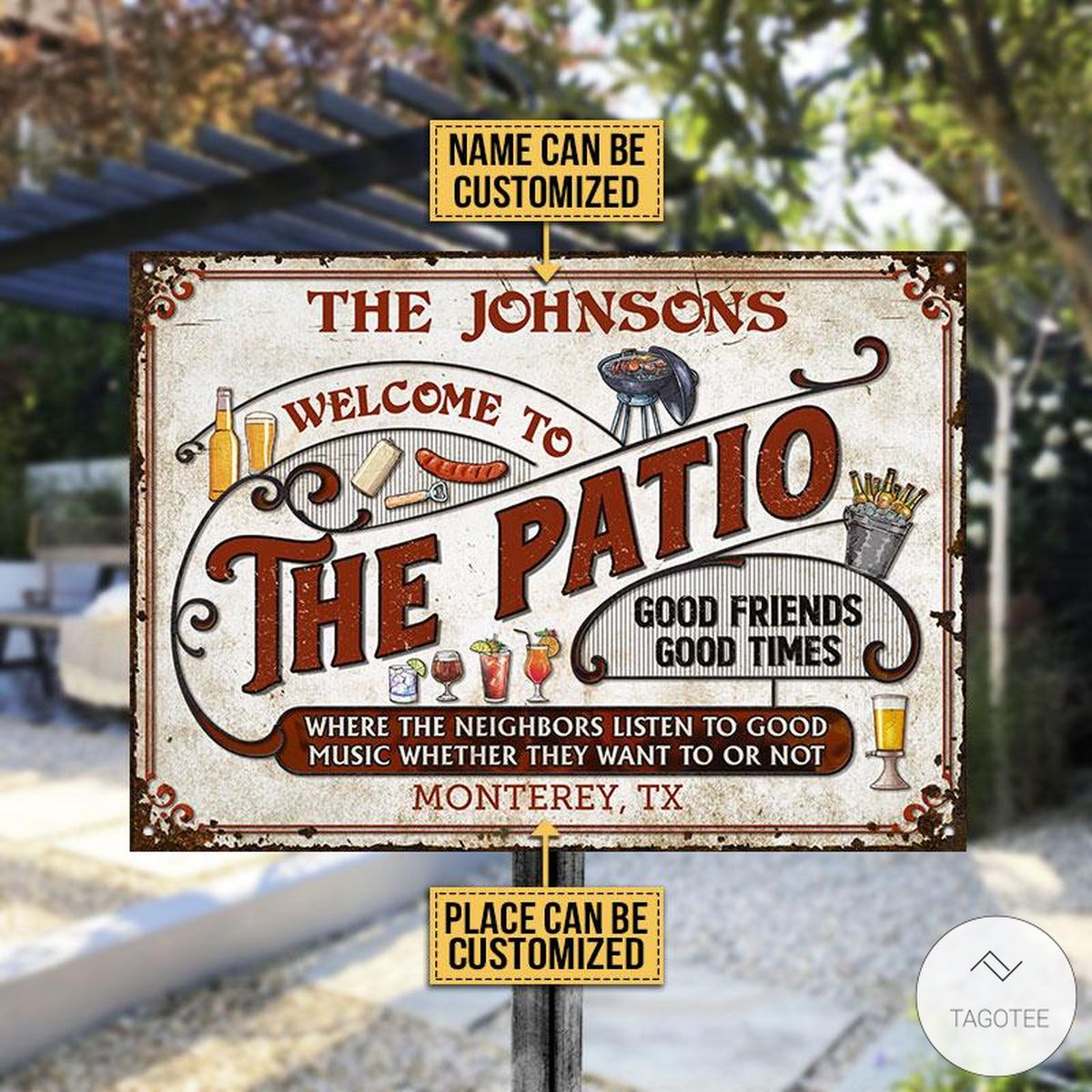 Personalized Welcome To The Patio Grilling Metal Signs