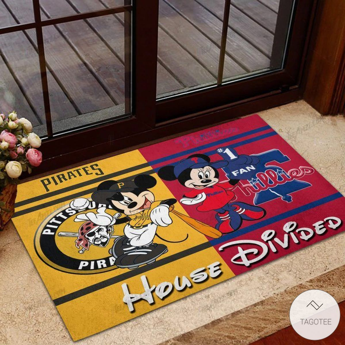 Pittsburgh Pirates House Divided Philadelphia Phillies Mickey Mouse And Minnie Mouse Doormat