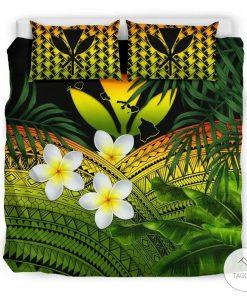 Polynesian Plumeria Banana Leaves Reggae Hawaiian Bedding Set