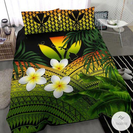 Polynesian Plumeria Banana Leaves Reggae Hawaiian Bedding Setc