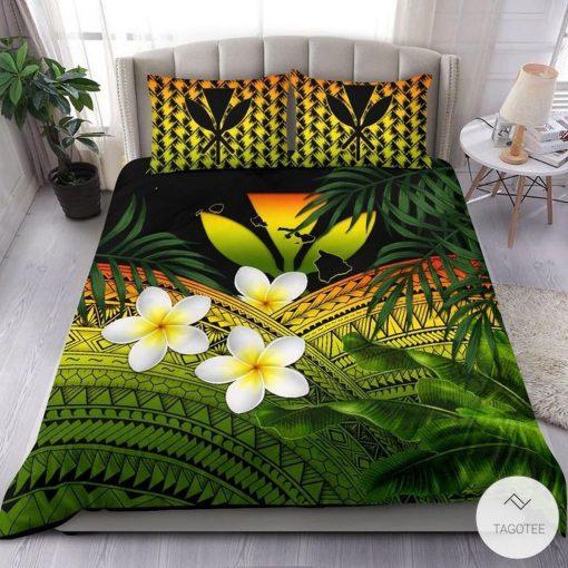 Polynesian Plumeria Banana Leaves Reggae Hawaiian Bedding Setx