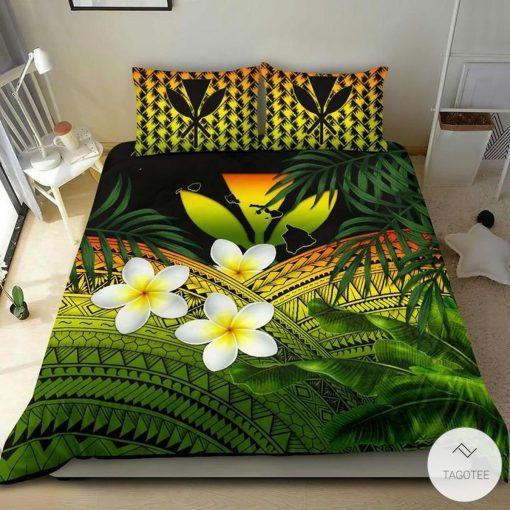 Polynesian Plumeria Banana Leaves Reggae Hawaiian Bedding Setz