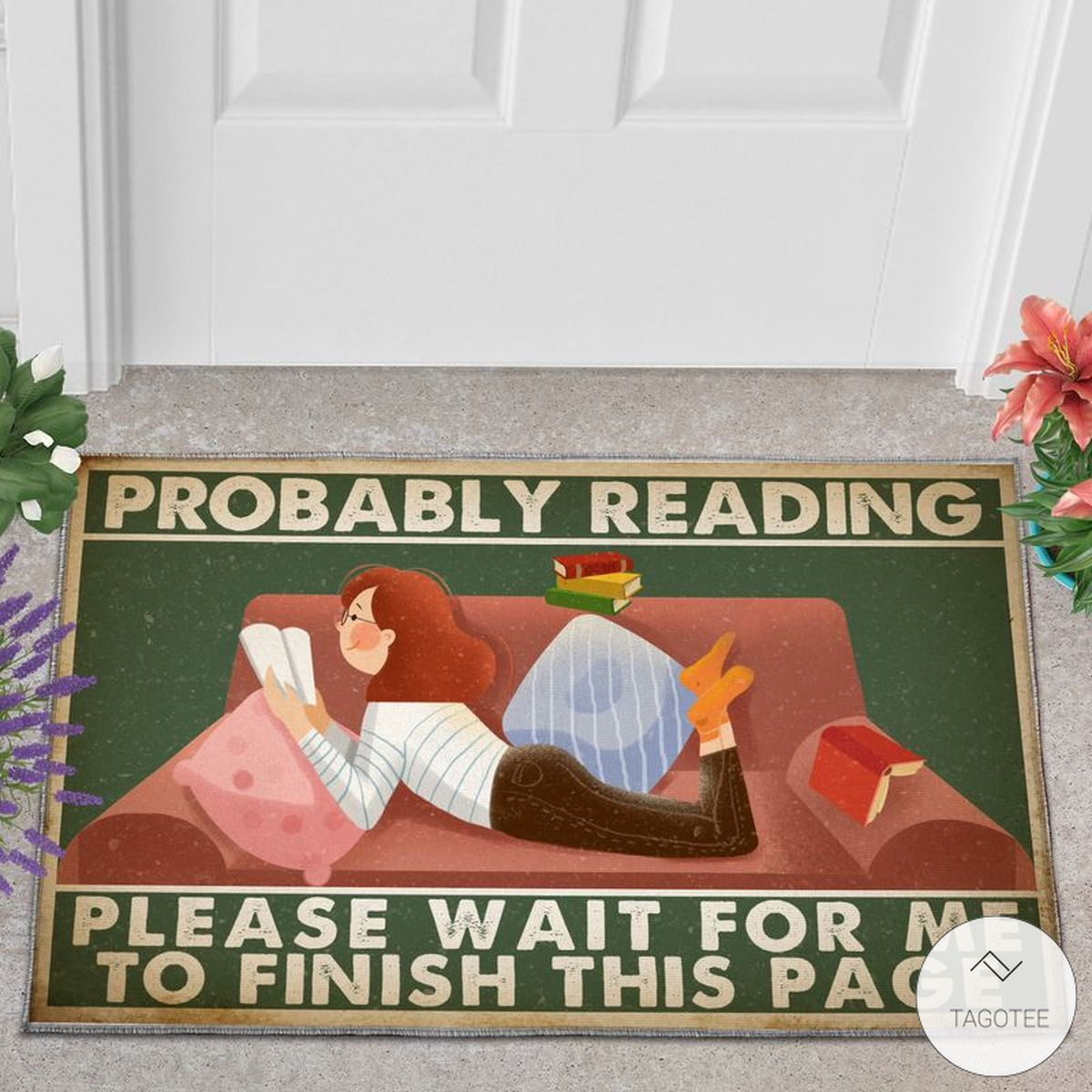 Probably Reading Please Wait For Me To Finish This Page Girl Loves Book Doormat