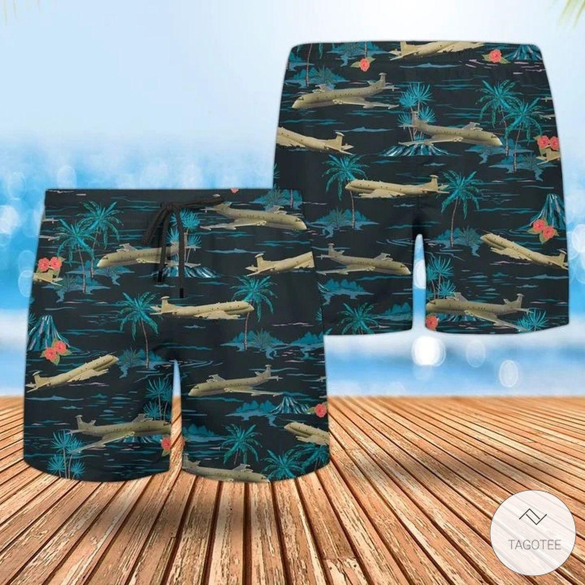 Present RAF Historical Nimrod Mr 2 Hawaiian Shirt, Beach Shorts