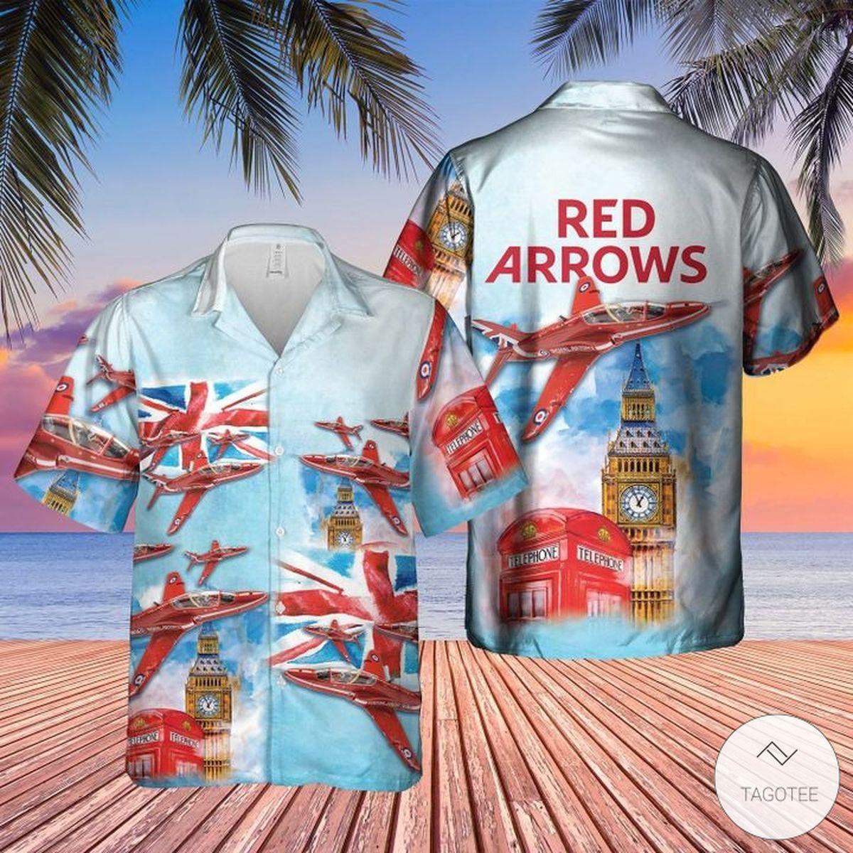 Red Arrows Raf Air Show Hawaiian Shirt