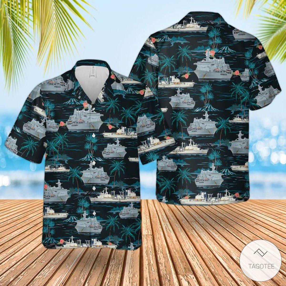 Rn Historical Rfa Fort George (A388) Hawaiian Shirt, Beach Shorts