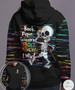 Rock Paper Scissors Throat Punch I Win Hippie Skeleton 3D T-shirt, Hoodiez