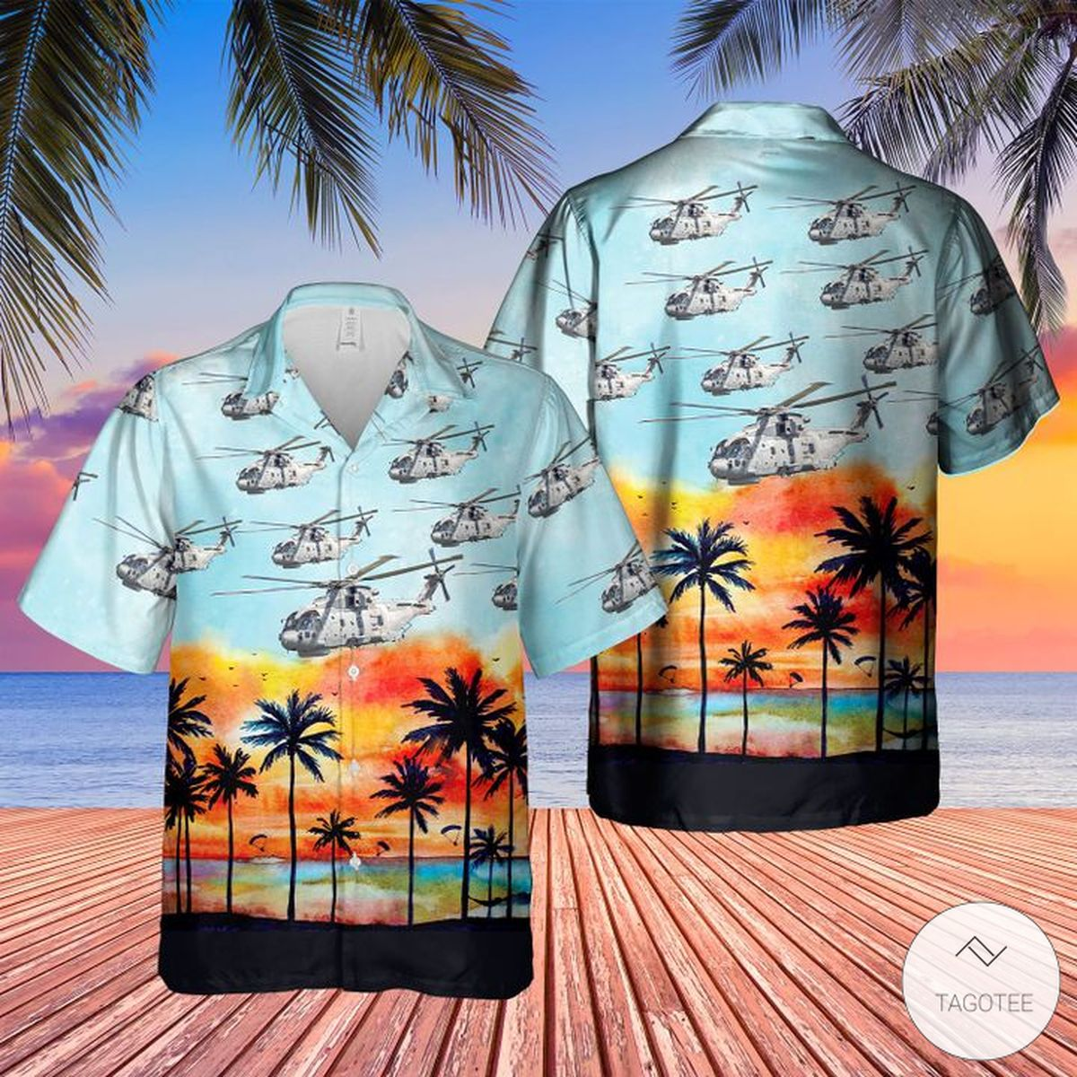 Royal Navy Merlin Hm Mk4 Hawaiian Shirt, Beach Shorts