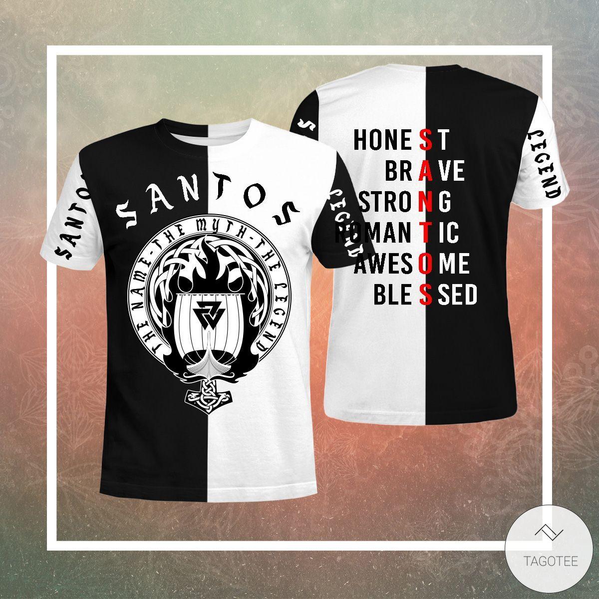Santos The Name The Myth The Legend 3D T-shirt