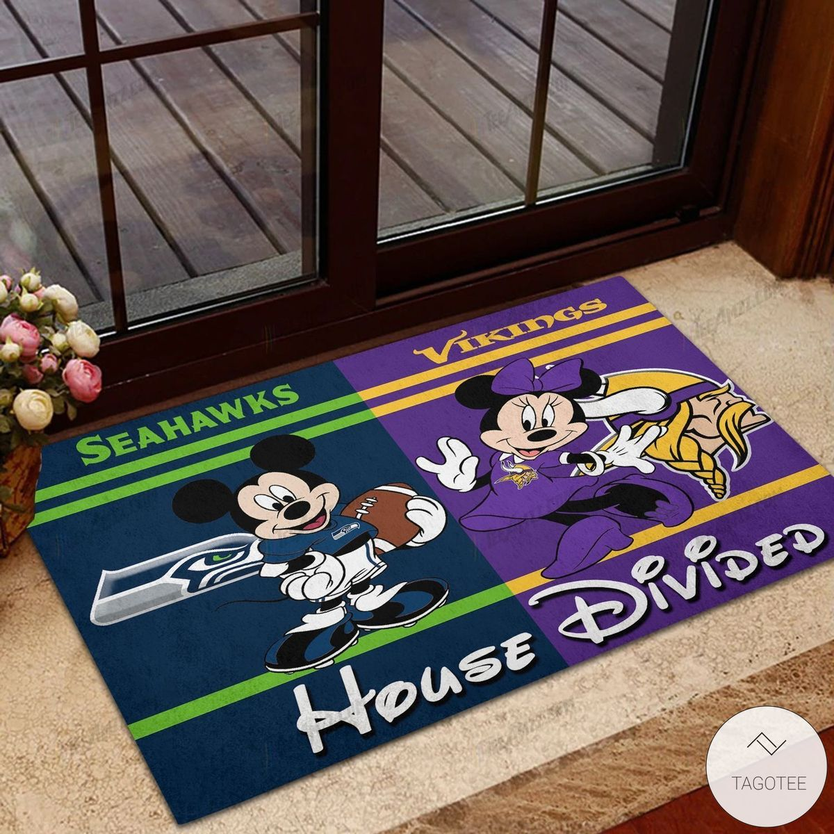 Seahawks House Divided Vikings Mickey Mouse And Minnie Mouse Doormat