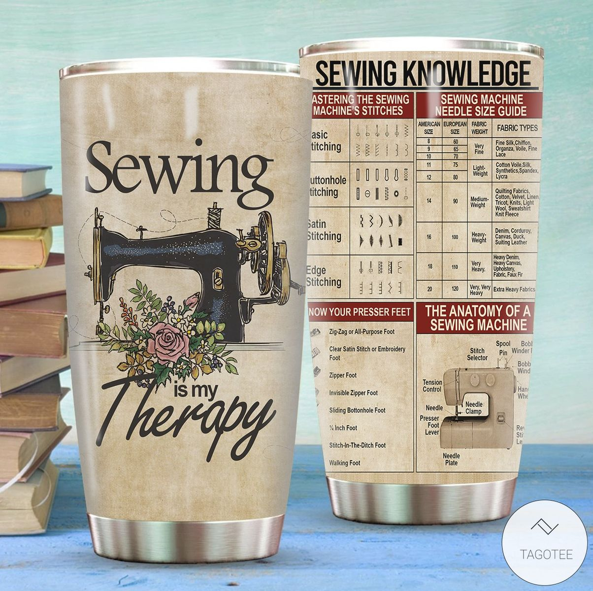 Sewing Is My Therapy Sewing Knowledge Stainless Steel Tumbler