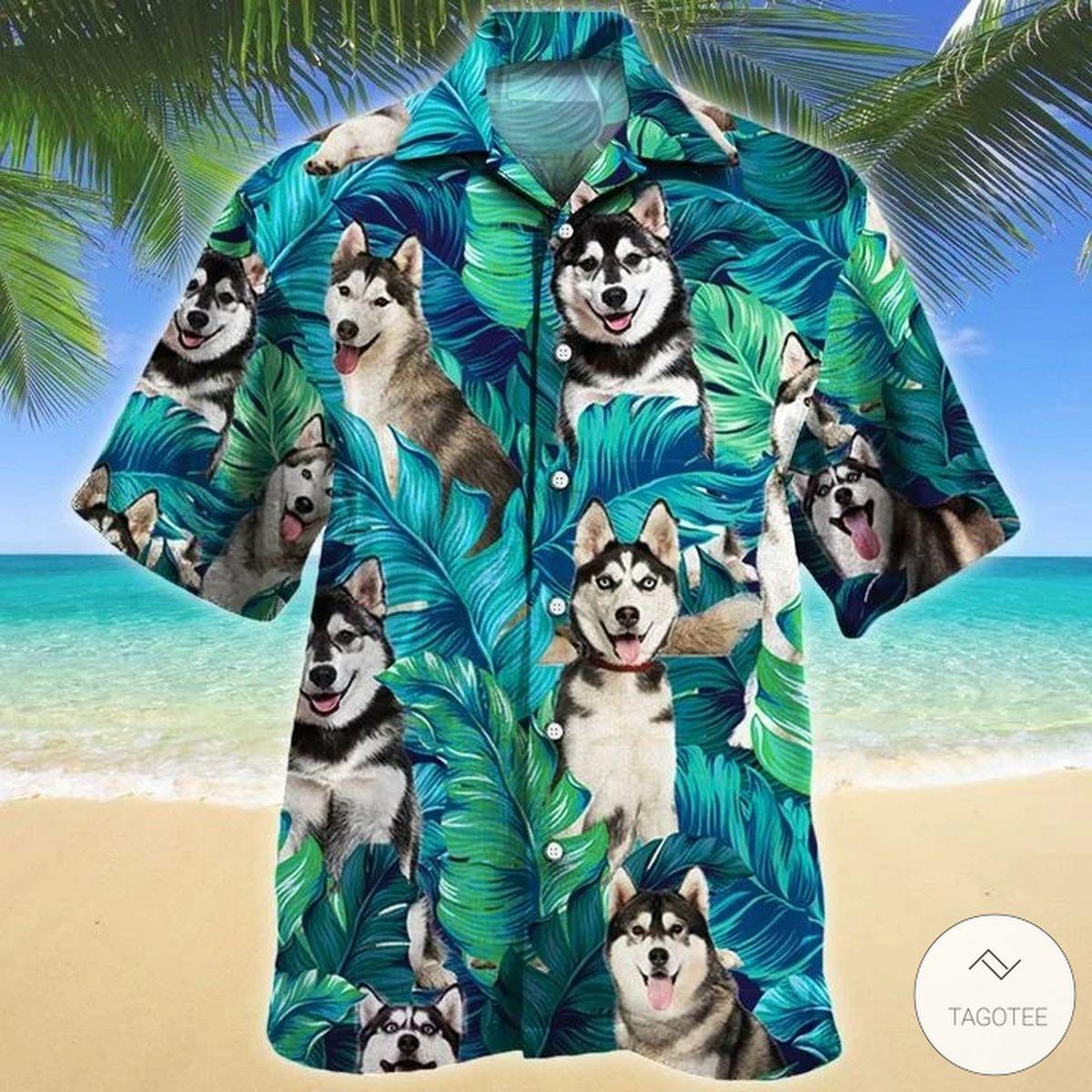 Siberian Husky Dog Hawaiian Shirt