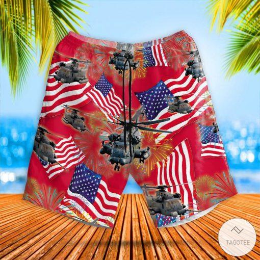 Sikorsky MH-53 Pave Low 4th July Hawaiian Shirt, Beach Shortsz