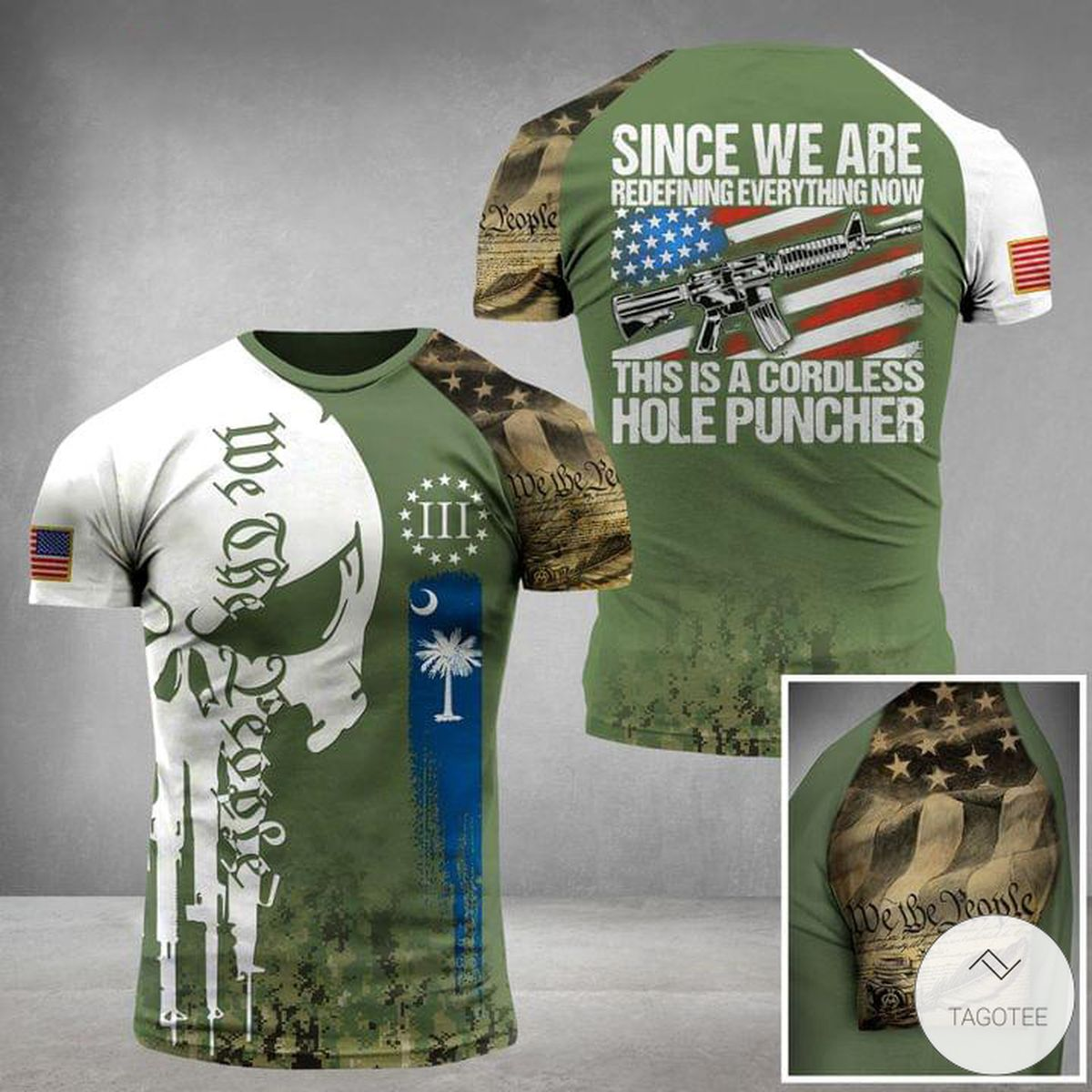 Since We Are Redefining Everything Now This Is A Cordless Hole Puncher Skull Military 3D T-shirt