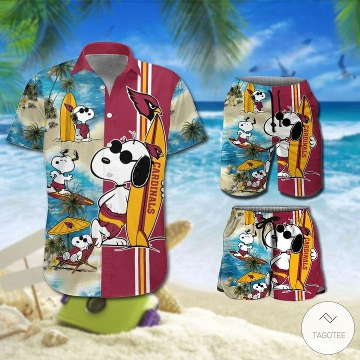 Snoopy And Cardinals Hawaiian Shirt, Beach Shorts