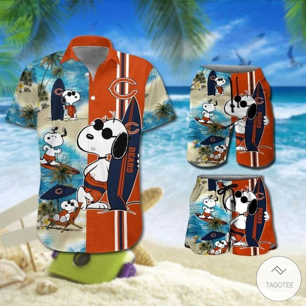 Snoopy And Chicago Bears Hawaiian Shirt, Beach Shorts