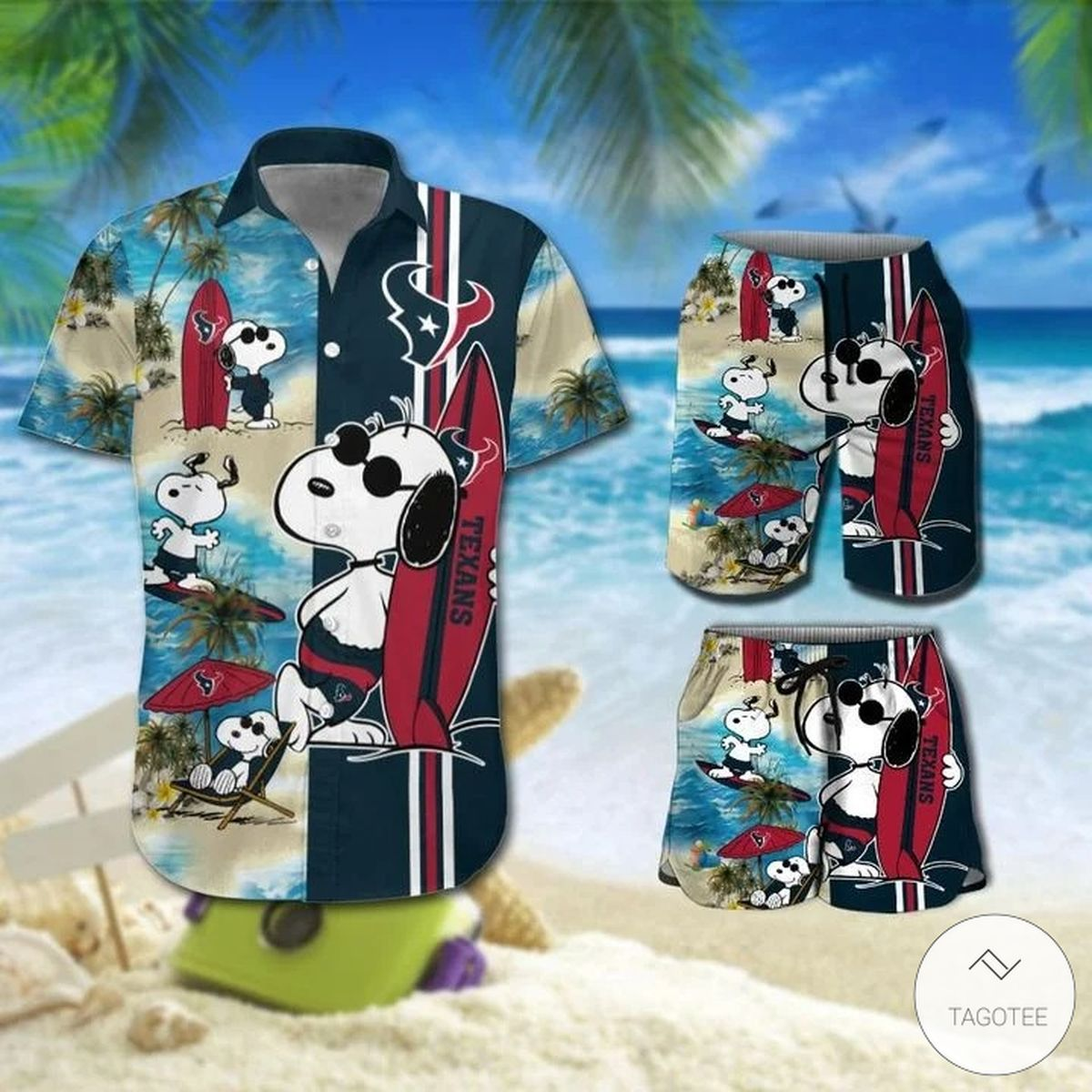 Snoopy And Houston Texans Hawaiian Shirt, Beach Shorts