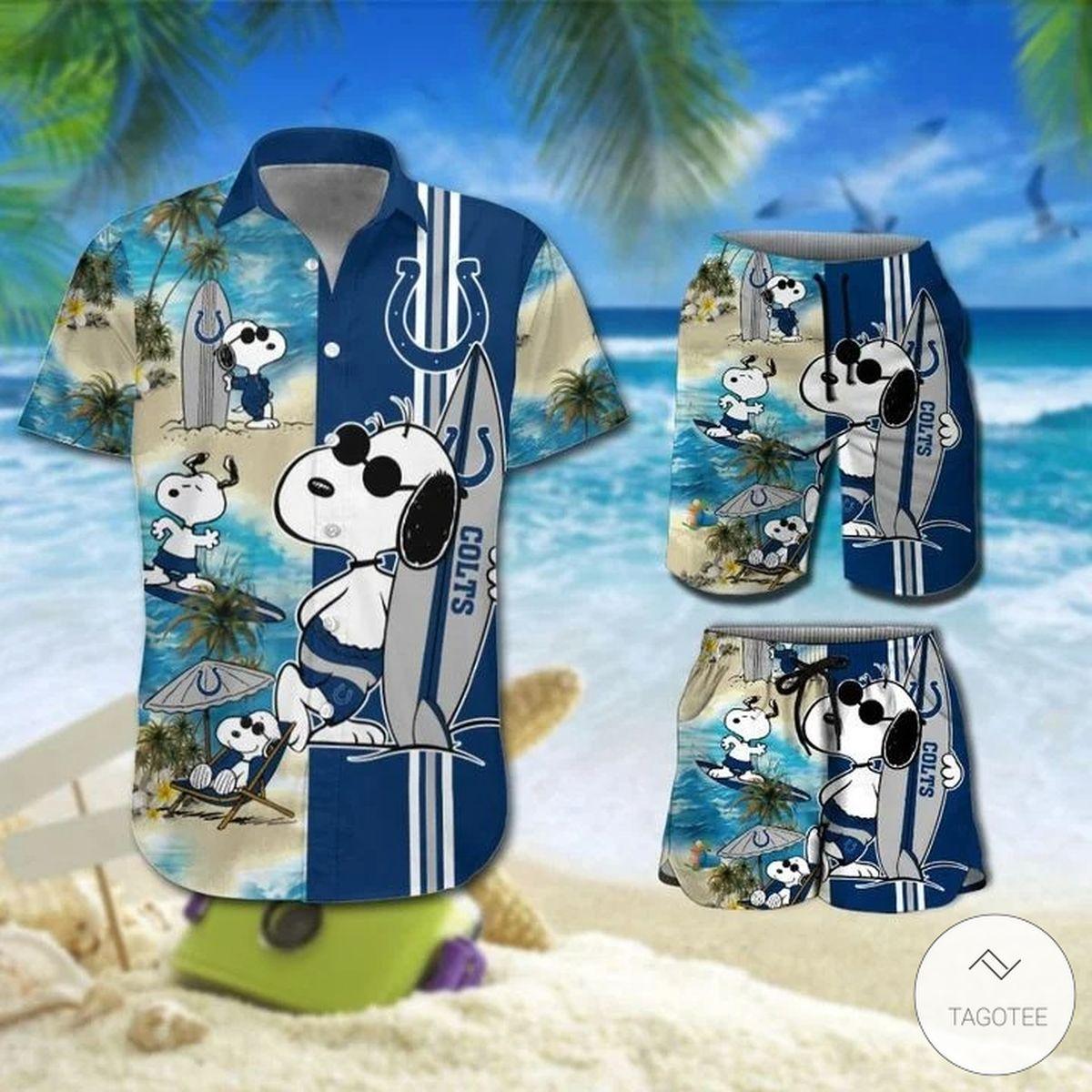 Snoopy And Indianapolis Colts Hawaiian Shirt, Beach Shorts
