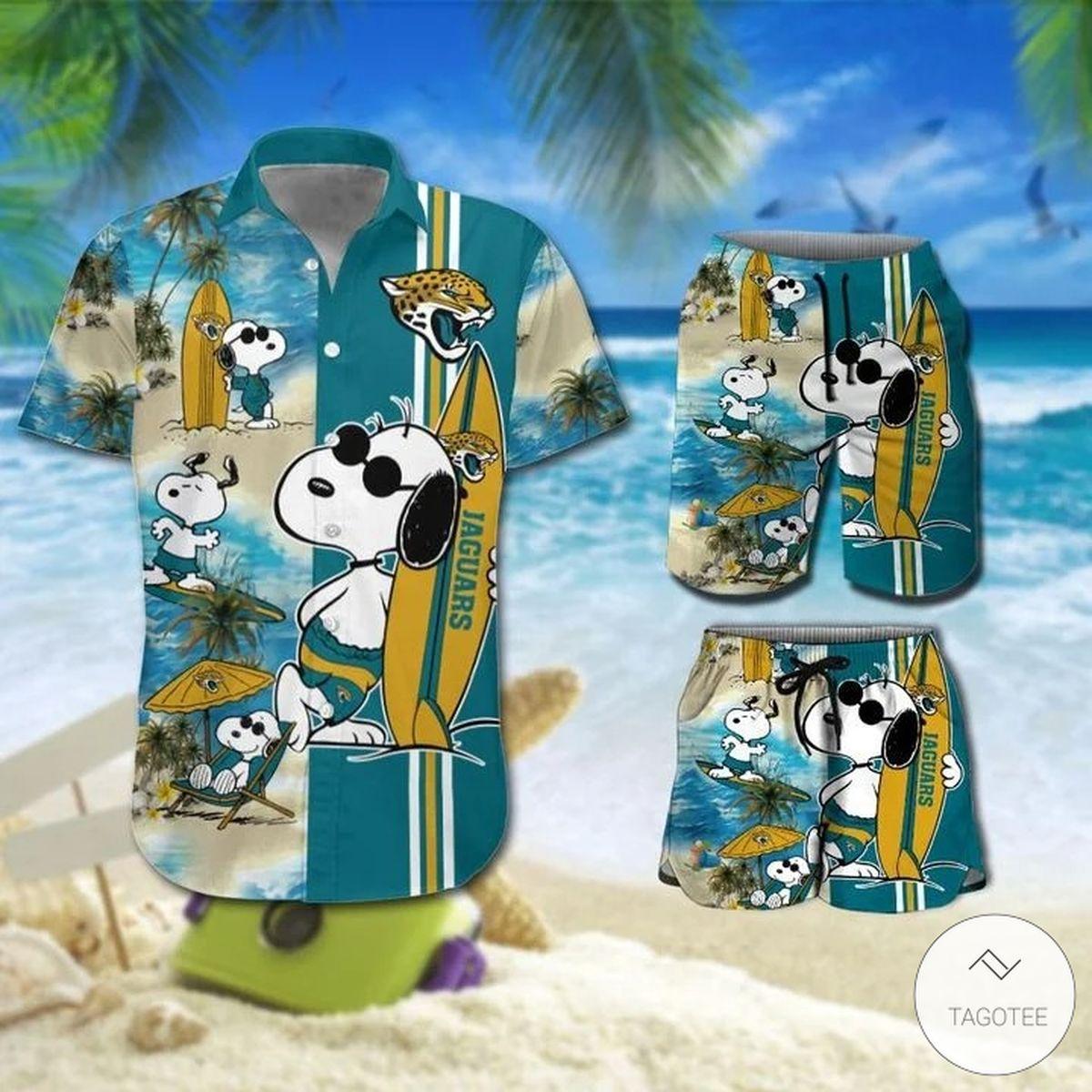 Snoopy And Jacksonville Jaguars Hawaiian Shirt, Beach Shorts