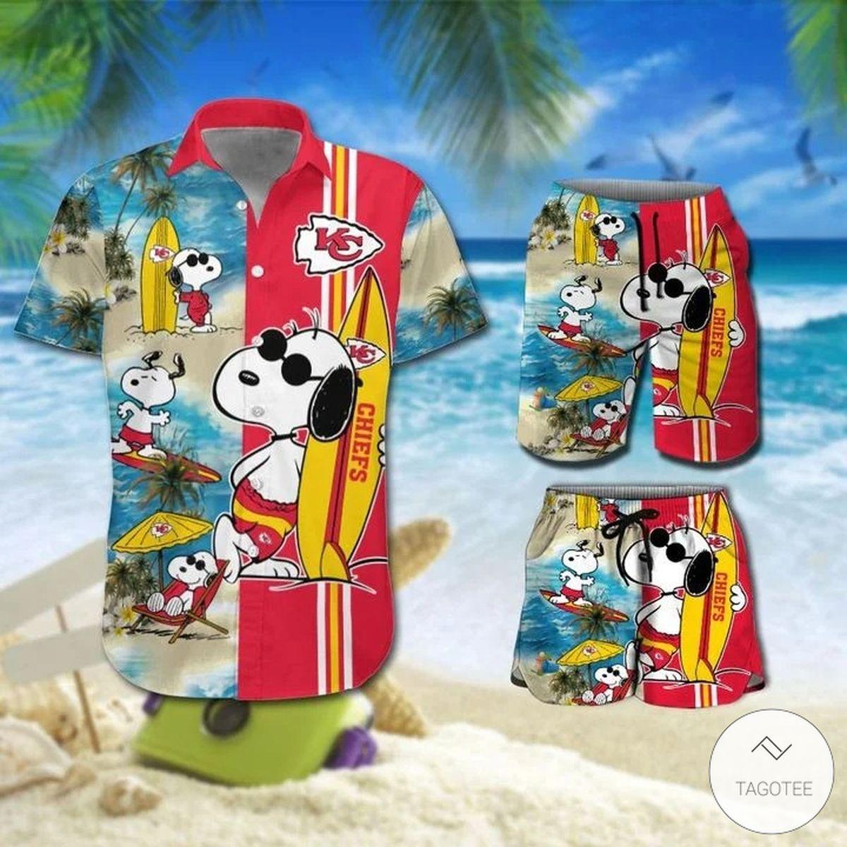 Snoopy And Kansas City Chiefs Hawaiian Shirt, Beach Shorts