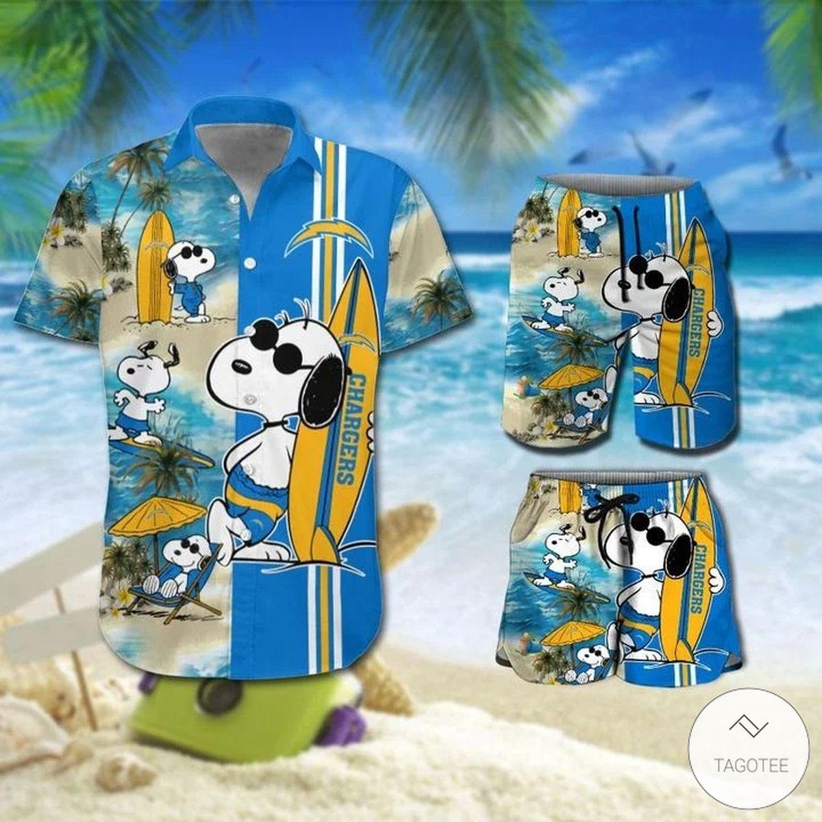 Snoopy And Los Angeles Chargers Hawaiian Shirt, Beach Shorts