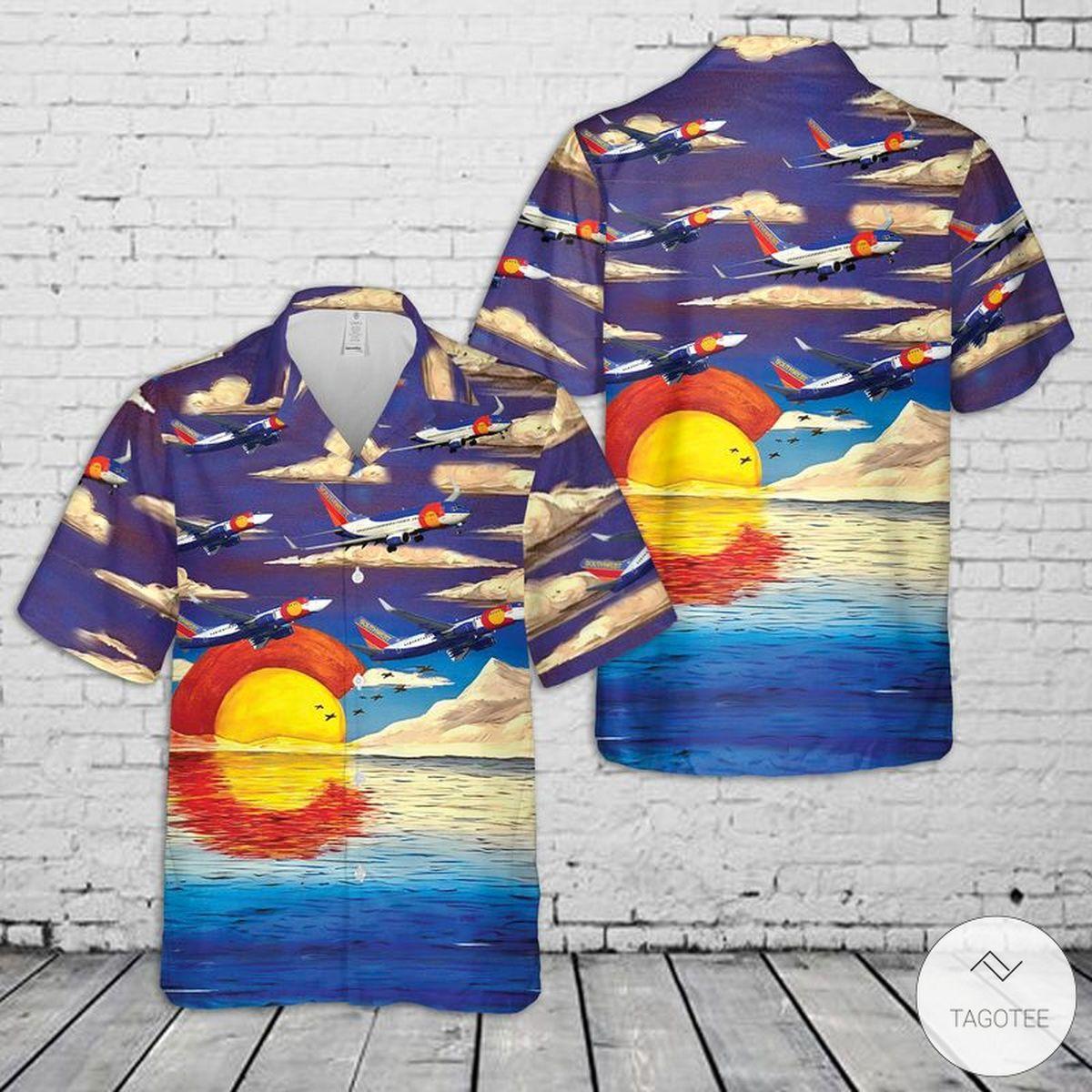 Southwest Airlines Colorado One Boeing 737-7H4 Hawaiian Shirt, Beach Shorts