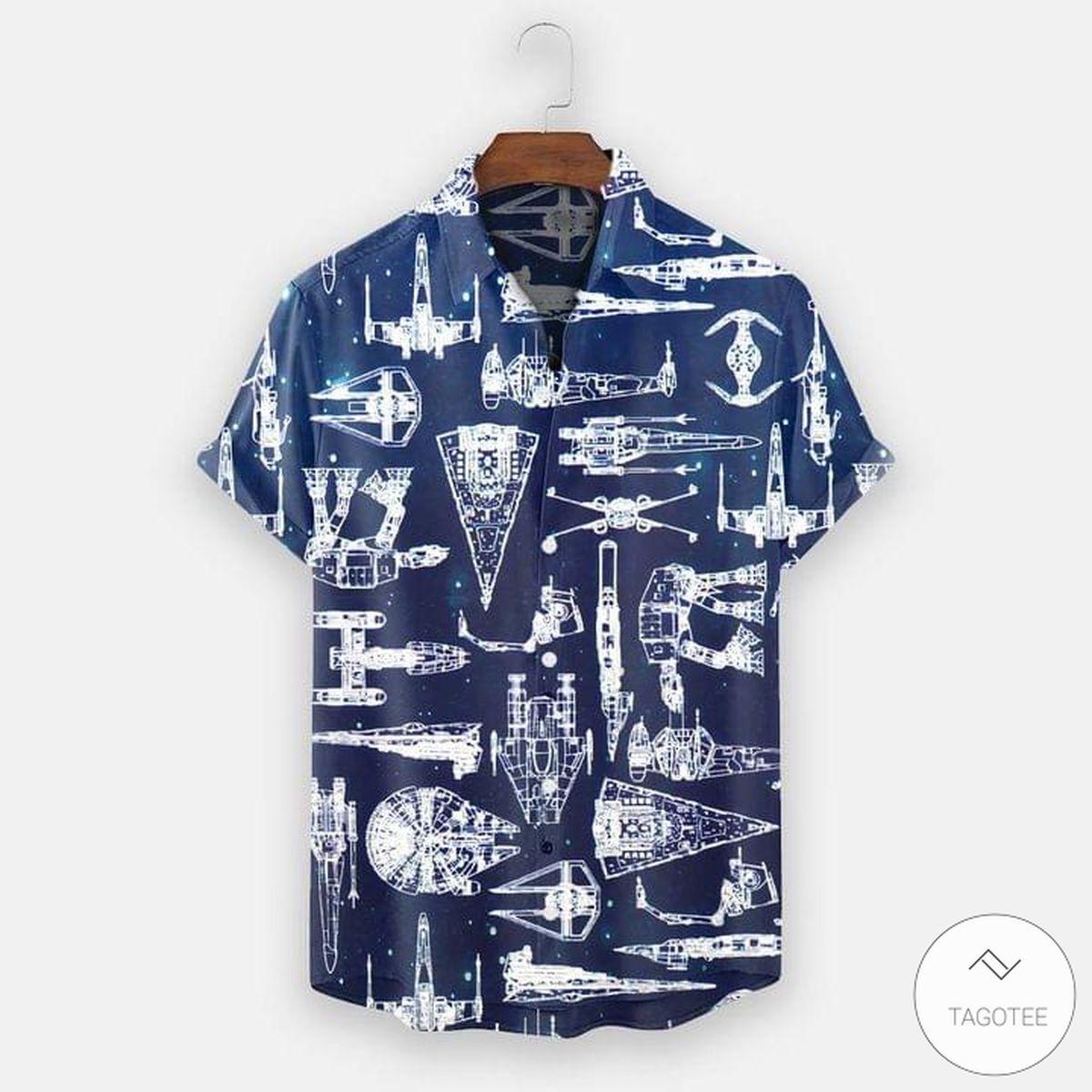 Star Wars Spaceship Blueprint Pattern Hawaiian Shirt