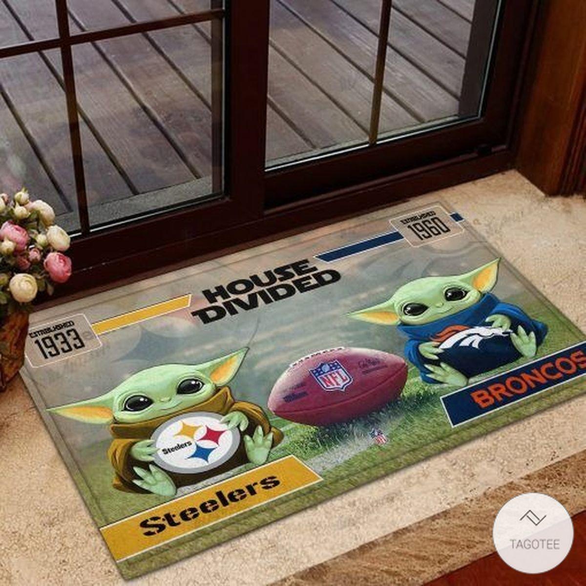 Steelers House Divided Broncos Baby Yoda Doormat