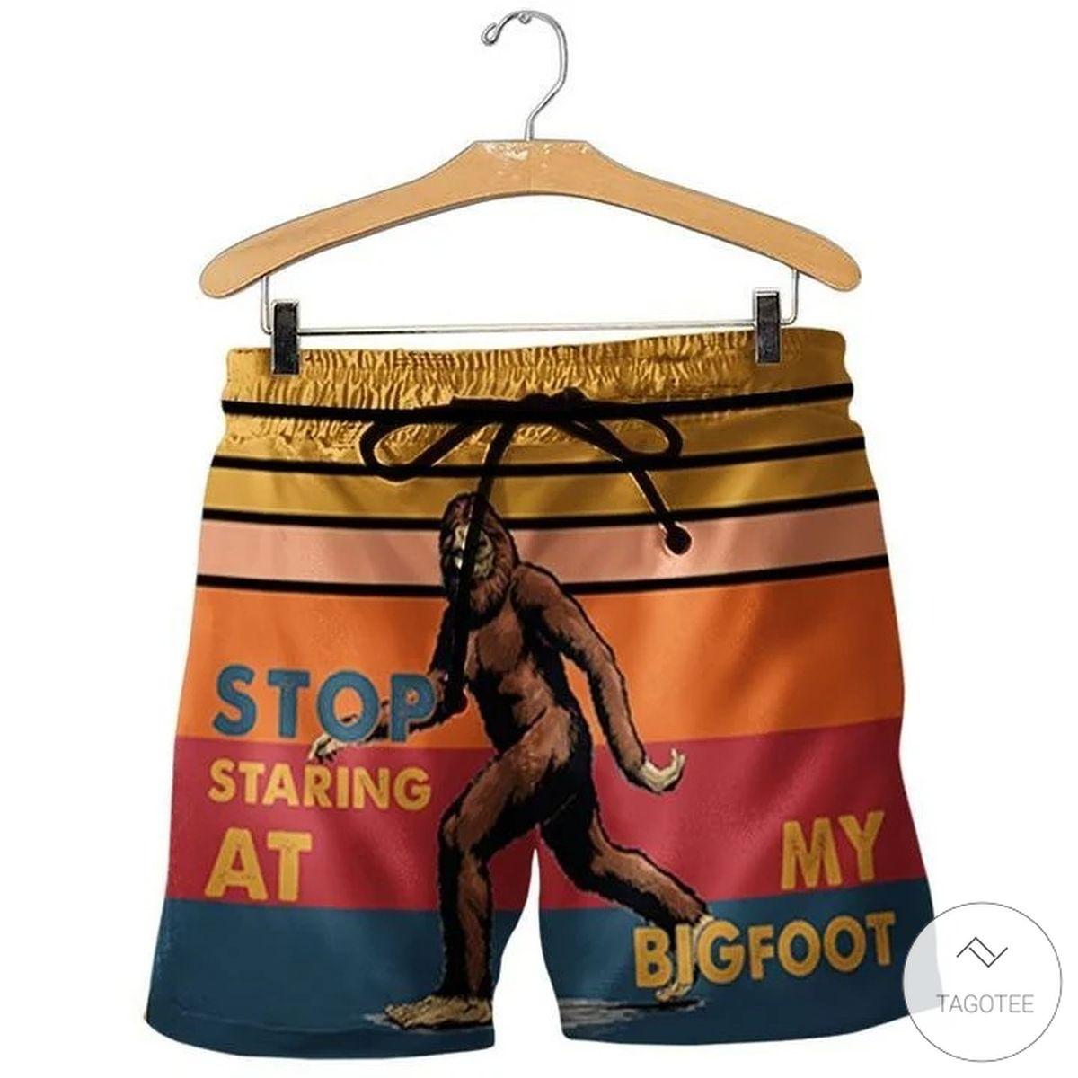 Stop Staring At My Big Foot Beach Shorts