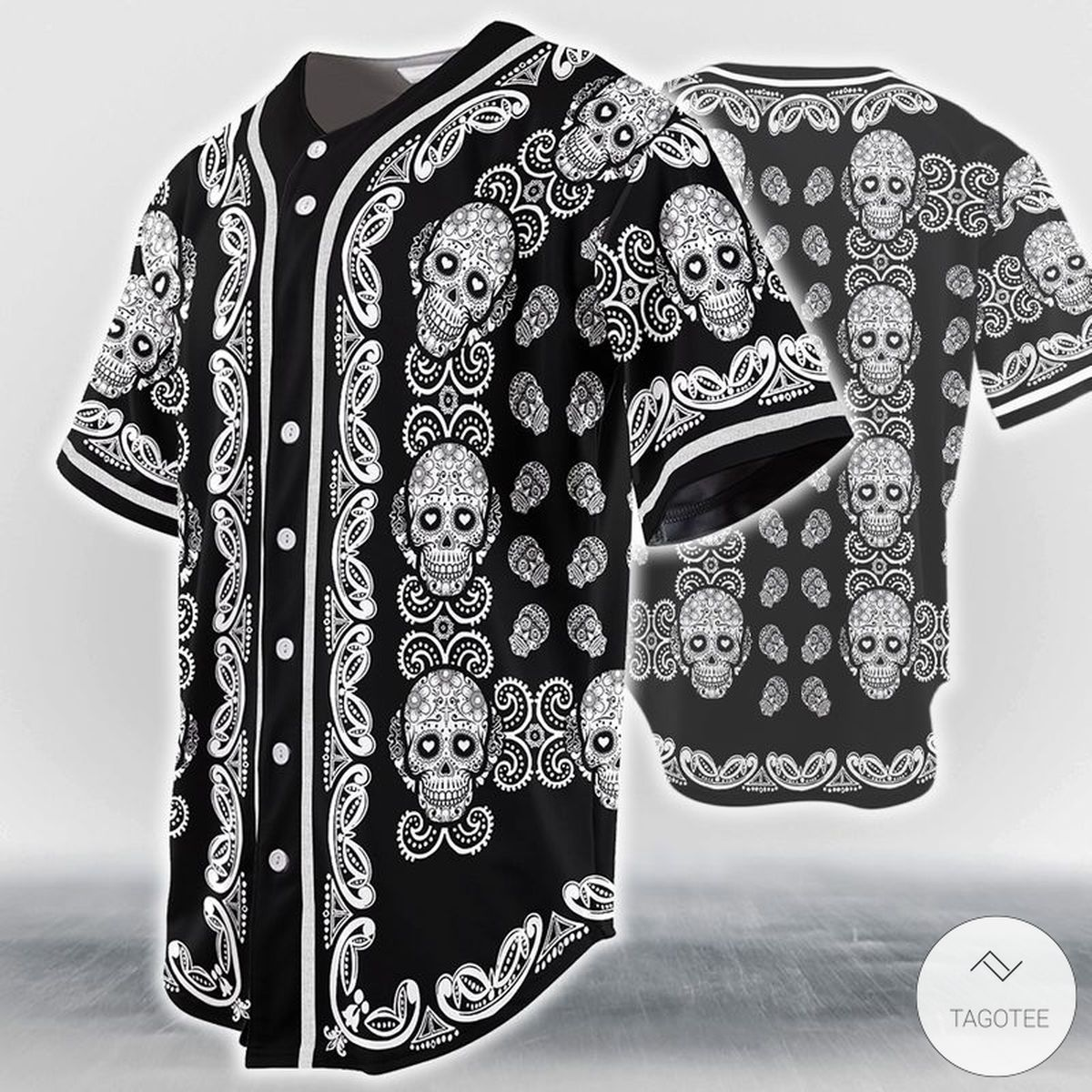 Sugar Skull Pattern Baseball Jersey