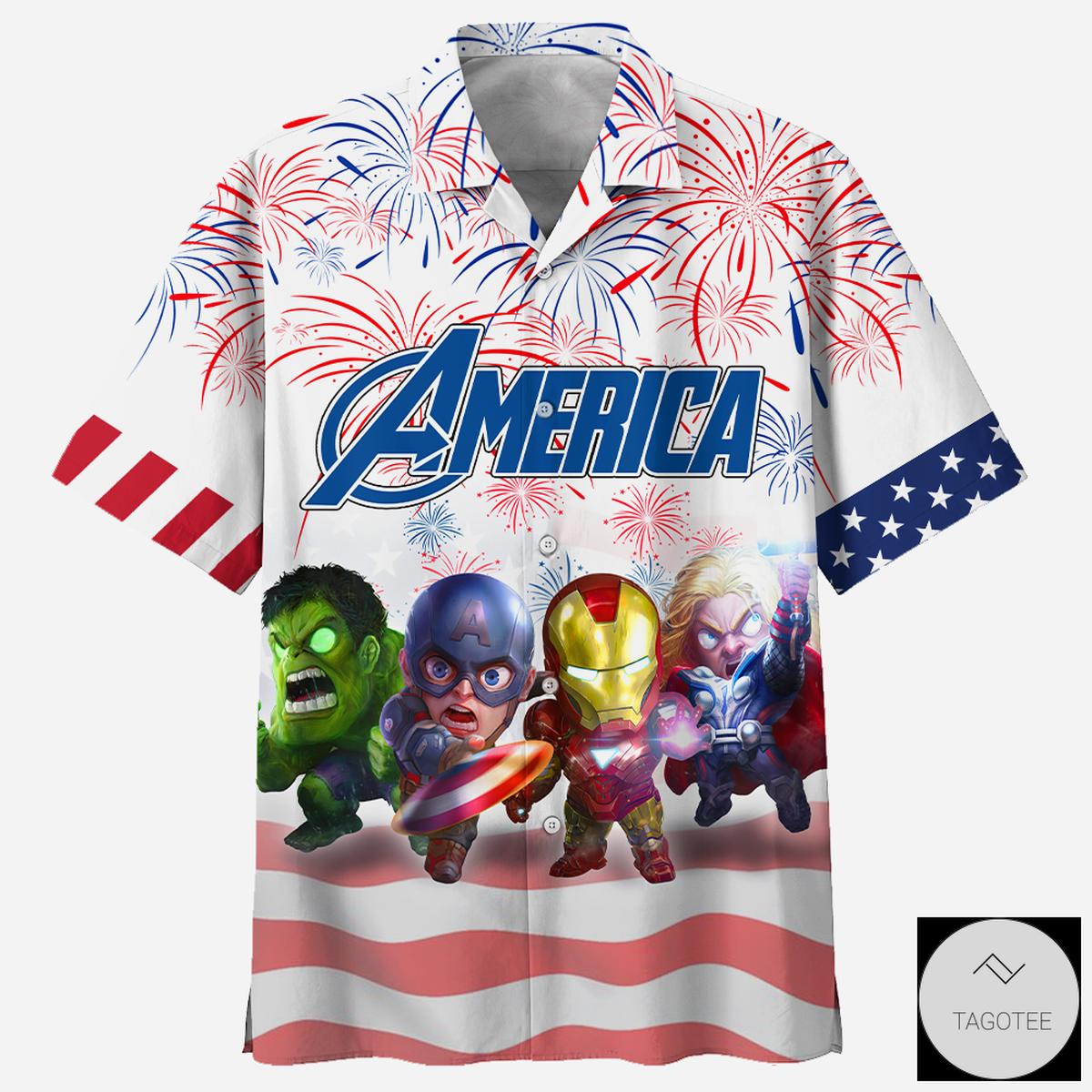 Superheroes Independence Day Hawaiian Shirt, Beach Shorts