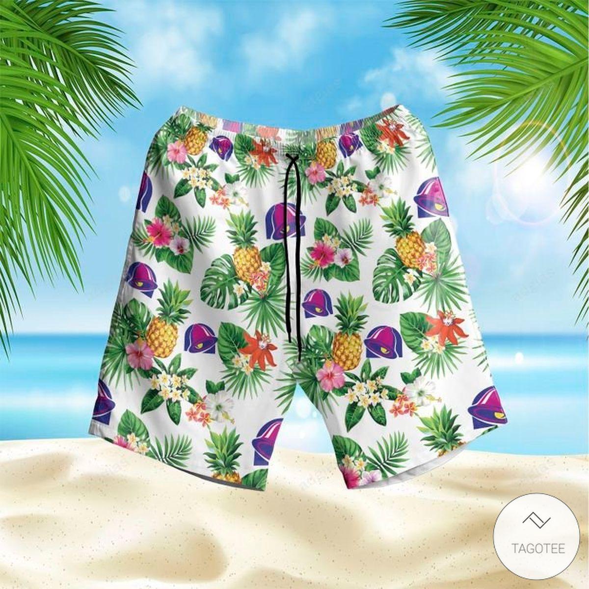 Handmade Taco Bell Hawaiian shirt, Beach Shorts