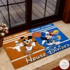 Texas Longhorns House Divided Kansas Jayhawks Mickey Mouse And Minnie Mouse Doormat