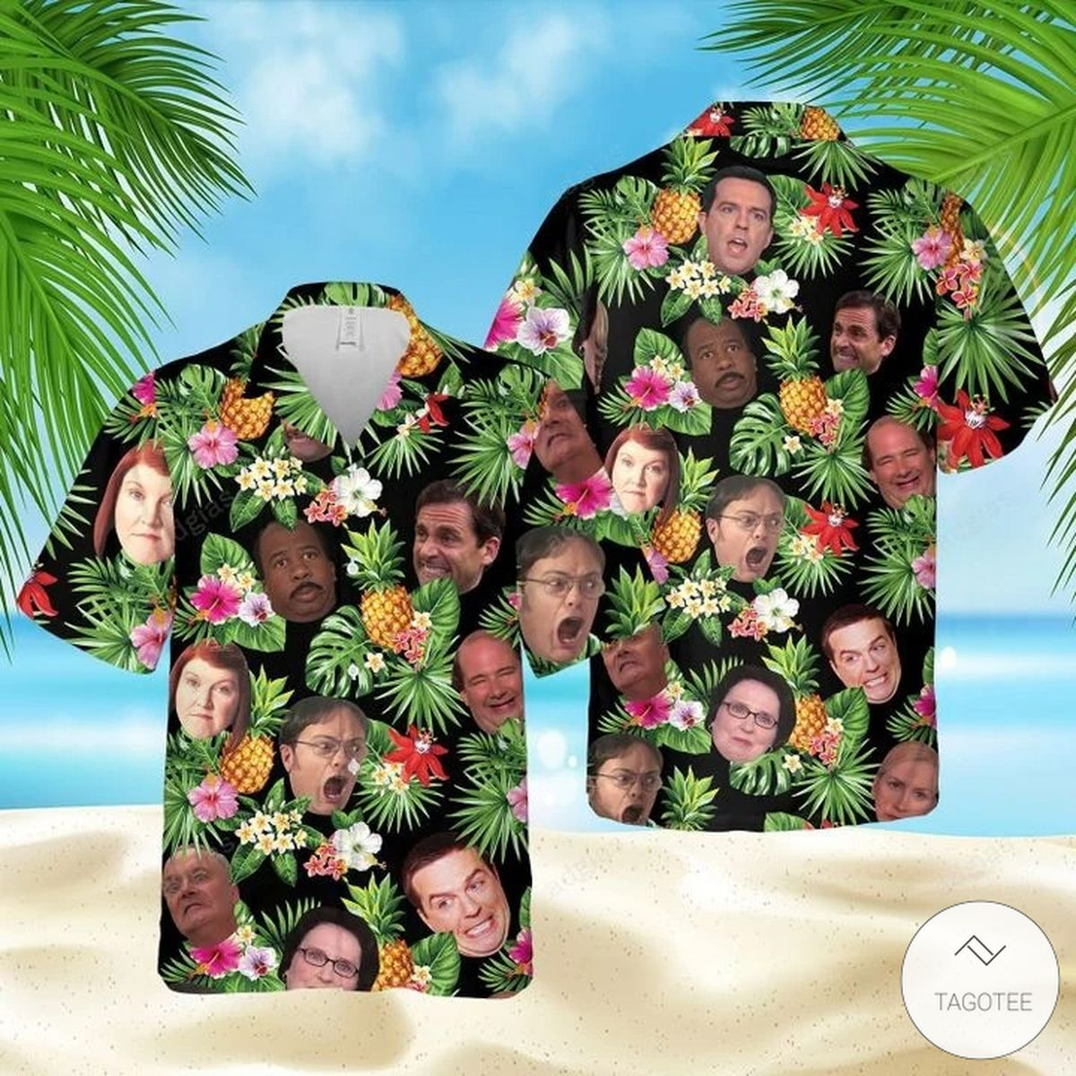 The Office Funny Faces Hawaiian Shirt, Beach Shorts