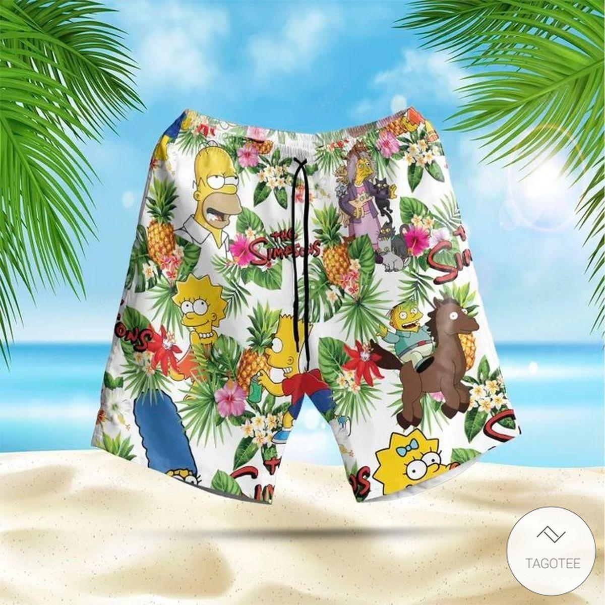 The Simpsons Tropical Hawaiian Shirt, Beach Shortsz