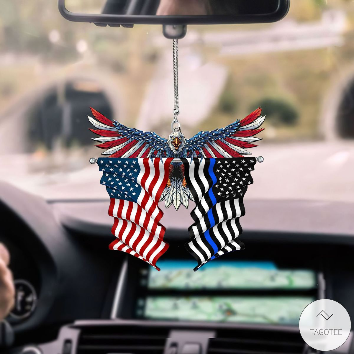 Thin Blue Line Flag in Honor of Law Enforcement And United States Eagle Flag Car Hanging Ornament