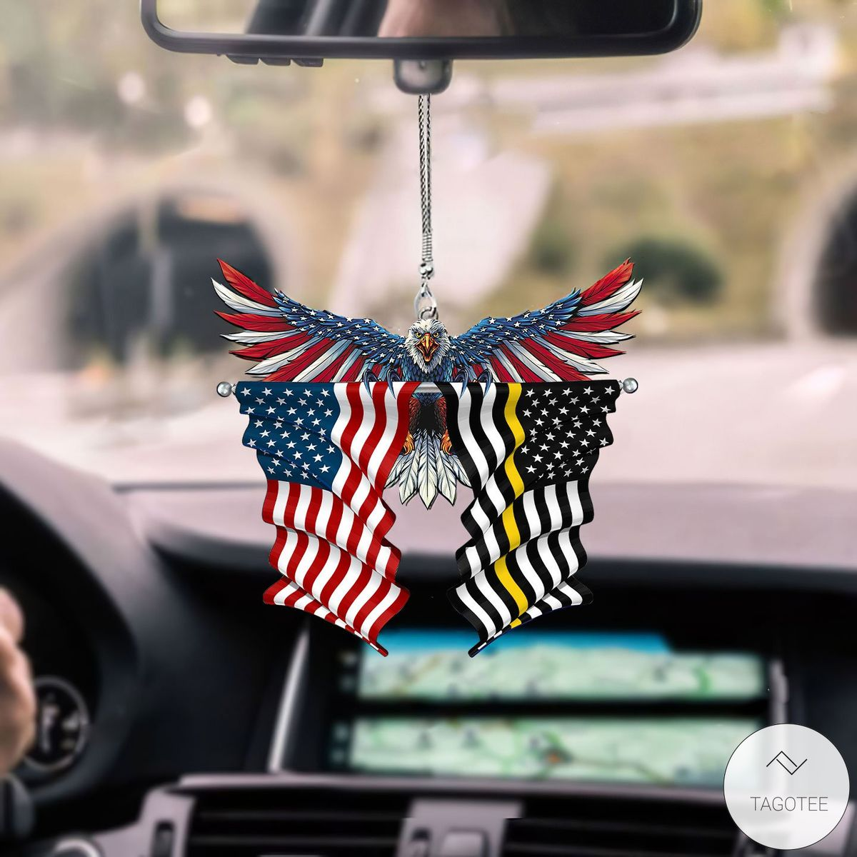 Thin Yellow Line Flags And United States Eagle Flag Car Hanging Ornament