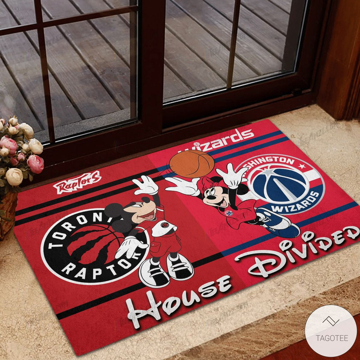 Toronto Raptor House Divided Washington Wizards Mickey Mouse And Minnie Mouse Doormat
