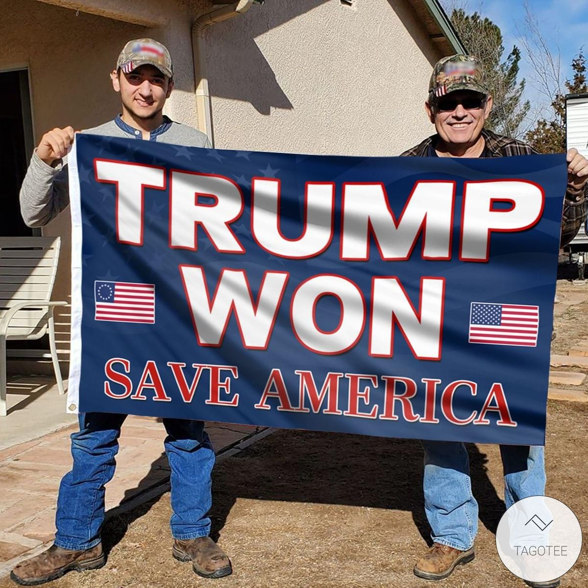 Trump Won Save America Wall Flag