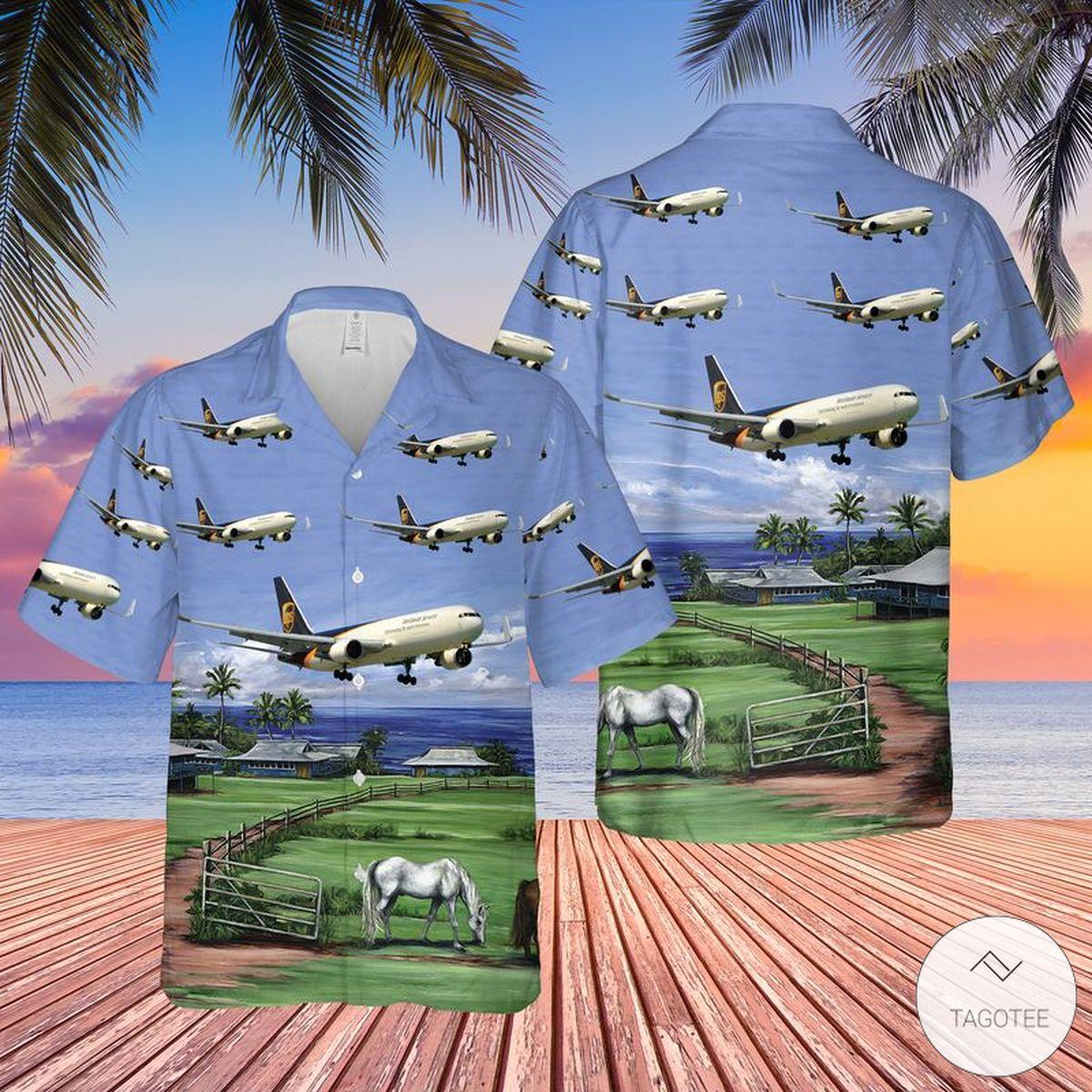 UPS Boeing 767-300FER Hawaiian Shirt, Beach Short