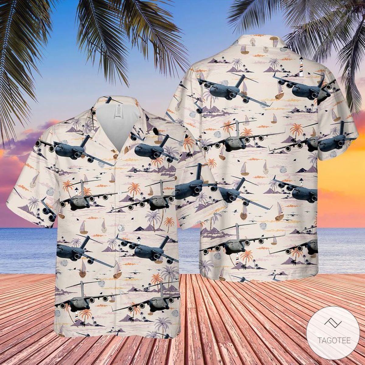 US Air Force Boeing C-17 Globemaster III Hawaiian Shirt, Beach Shorts
