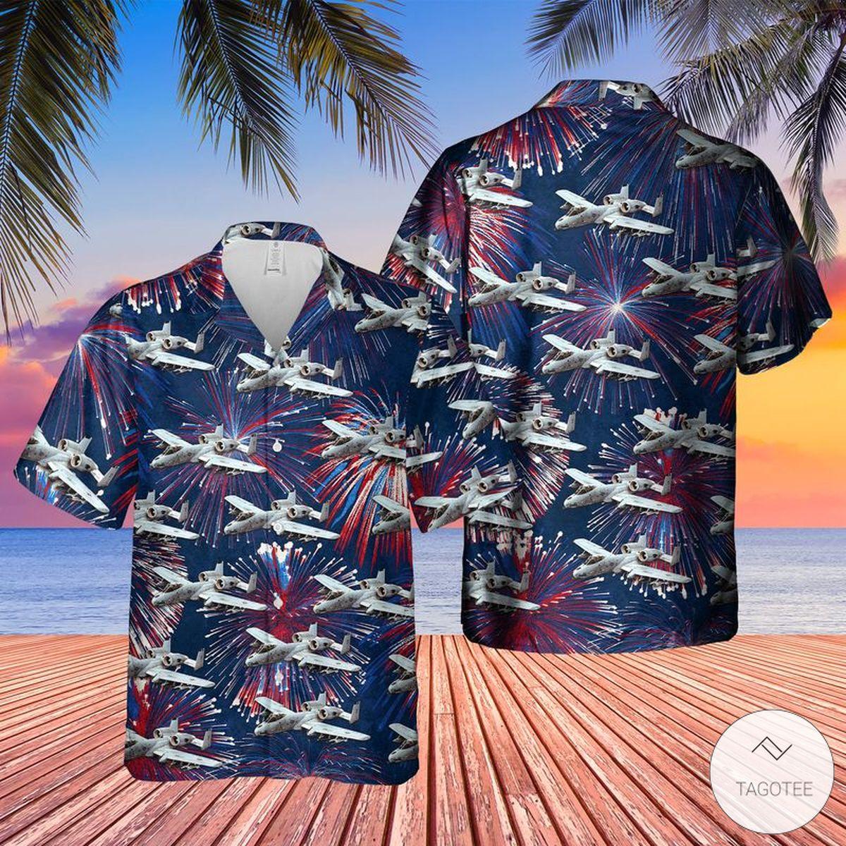 Funny Tee US Air Force Fairchild Republic A-10 Thunderbolt II 4th Of July Hawaiian Shirt