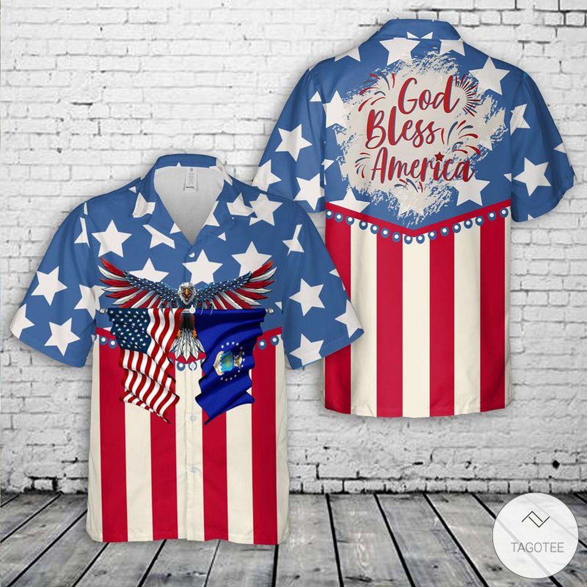 US Air Force God Bless America 4th Of July Hawaiian Shirt, Beach Shorts