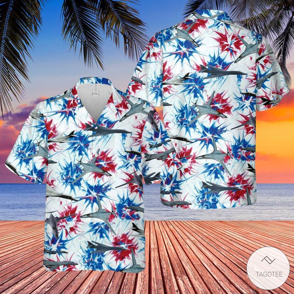US Air Force Rockwell B-1 Lancer Red White & Blue Tie dye Hawaiian Shirt, Beach Shorts