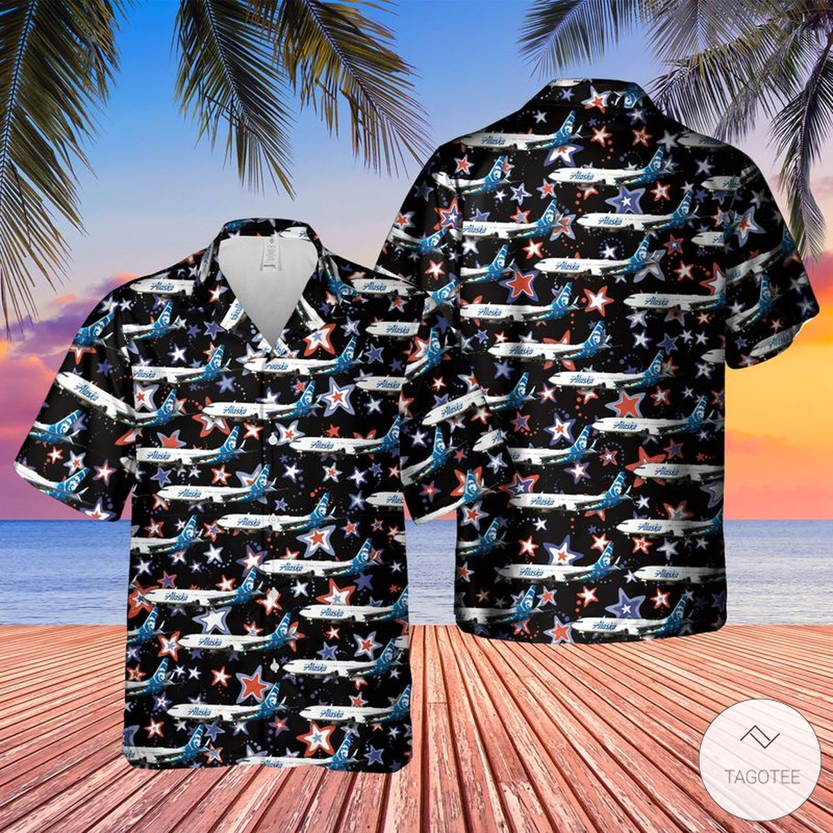 US Airlines 6 Boeing 737-900 ER 4th of July Hawaiian Shirt
