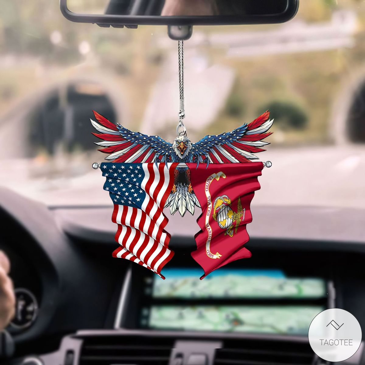 US Marine Corps and United States Eagle Flag Car Hanging Ornament