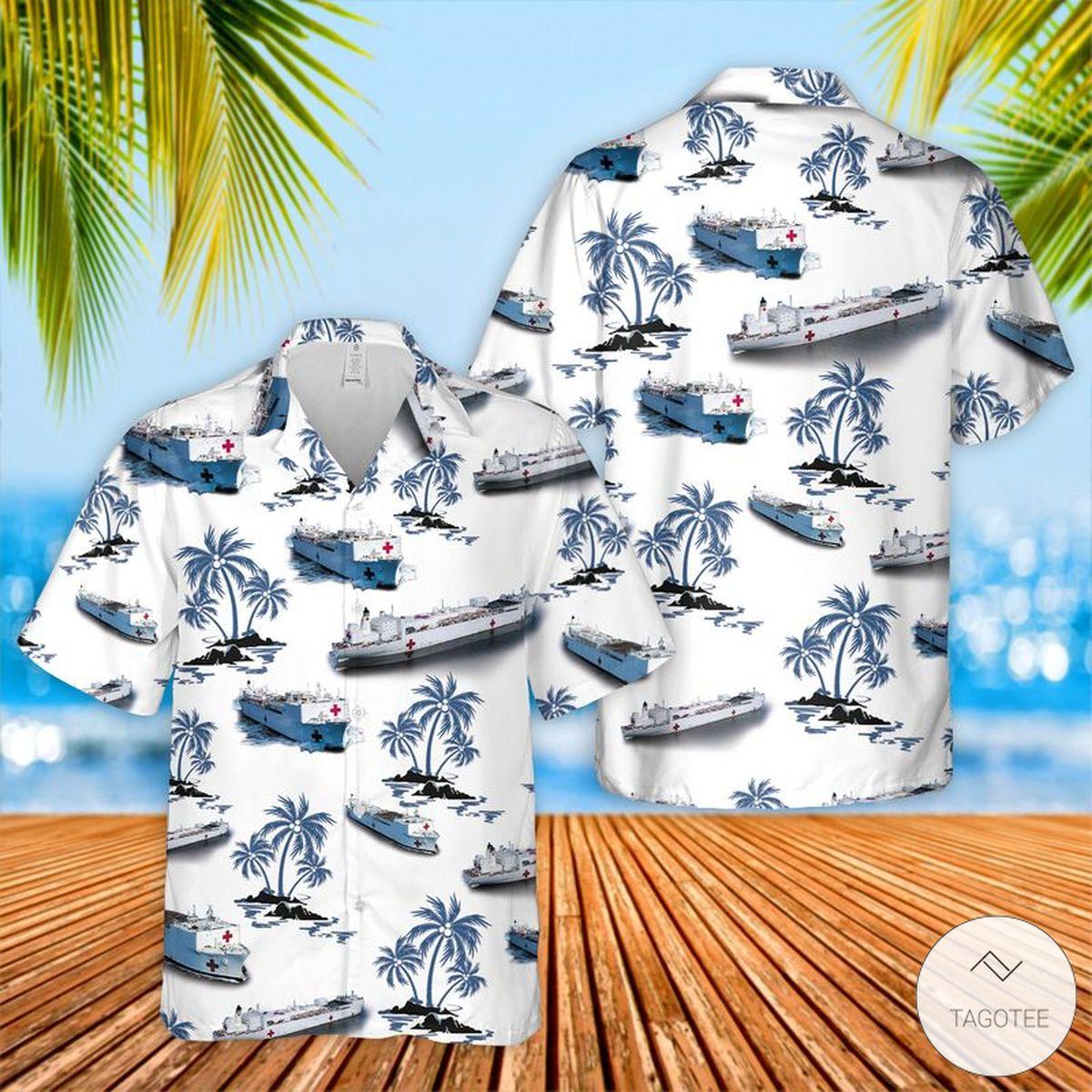 US Navy Hospital Ship Hawaiian Shirt, Beach Shorts