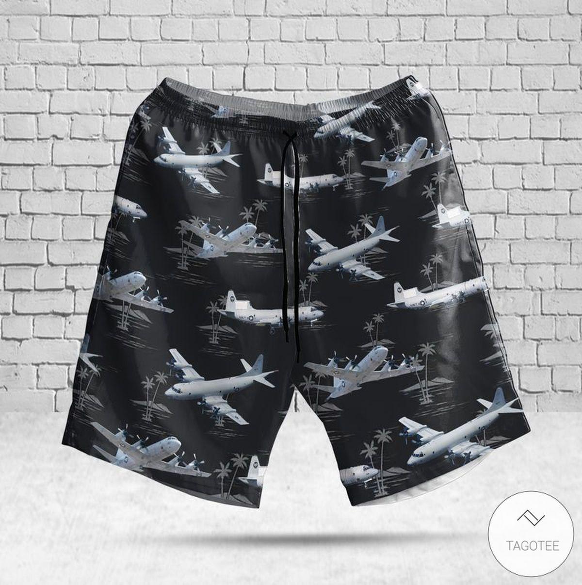 US Navy Lockheed P-3C Orion Hawaiian Shirt, Beach Shortsz