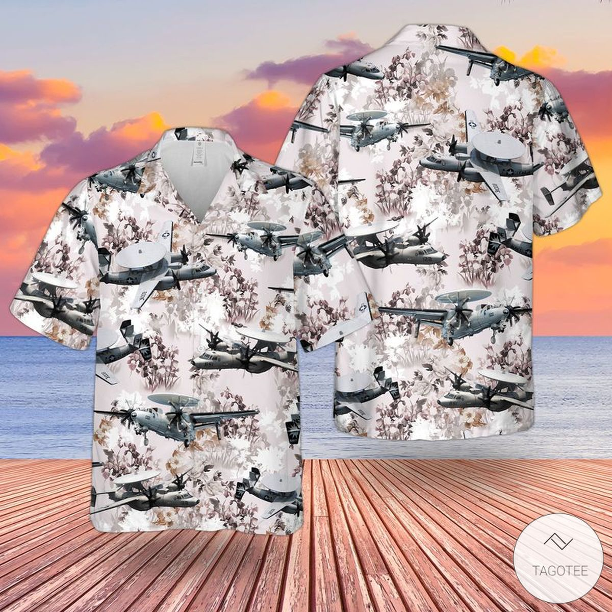 US Navy Northrop Grumman E-2 Hawkeye Hawaiian Shirt, Beach Shorts