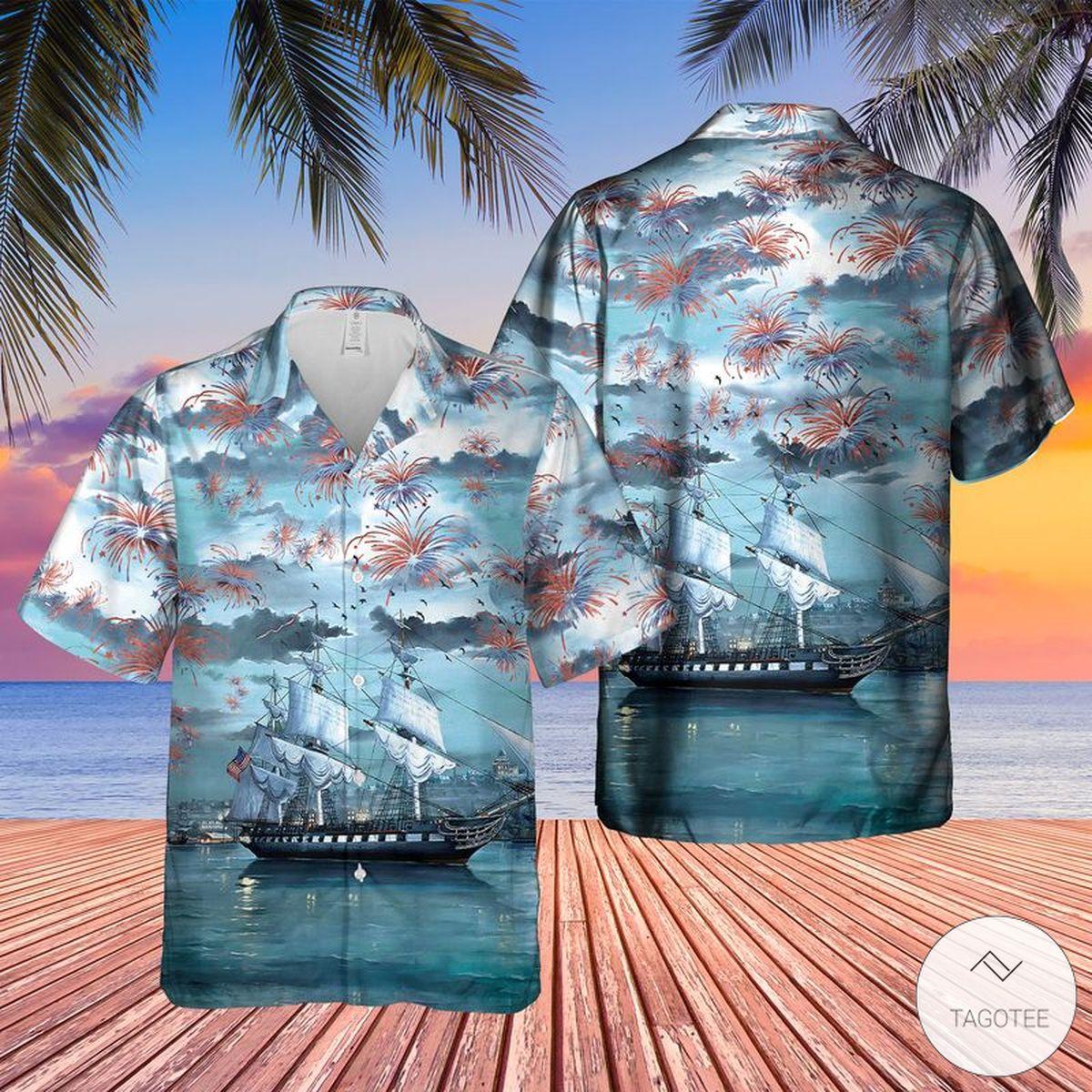 US Navy USS Constitution 4th of July Hawaiian Shirt